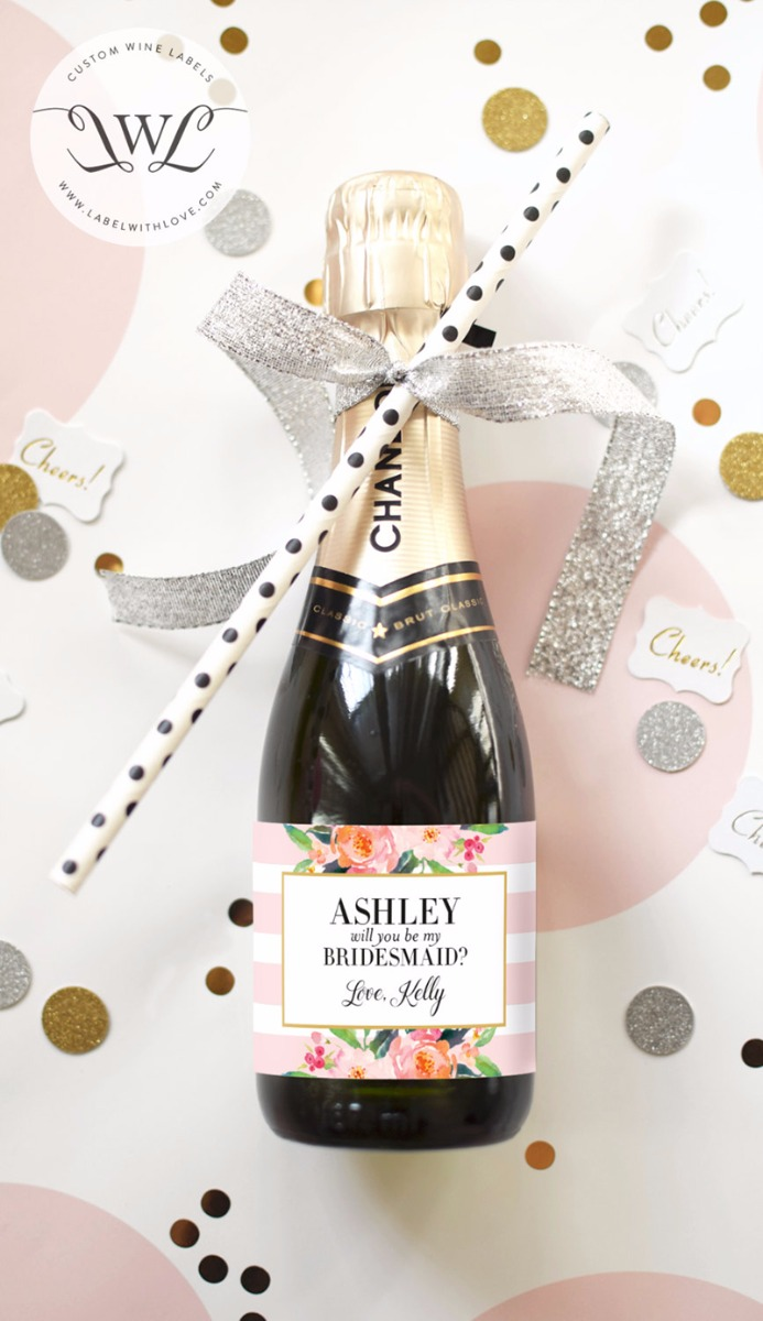 personalised wine bottle for bridesmaid